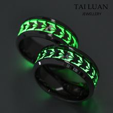Fashion jewelry vendors wholesale butterfly glow in the dark stainless steel women rings