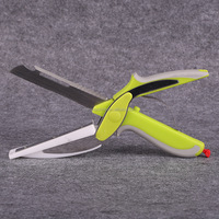 6 in 1 Clever Food Cutter Smart Multifunction Scissors Kitchen Chopper Knife with Cutting Board - Bottle Opener - Peeler - Veget