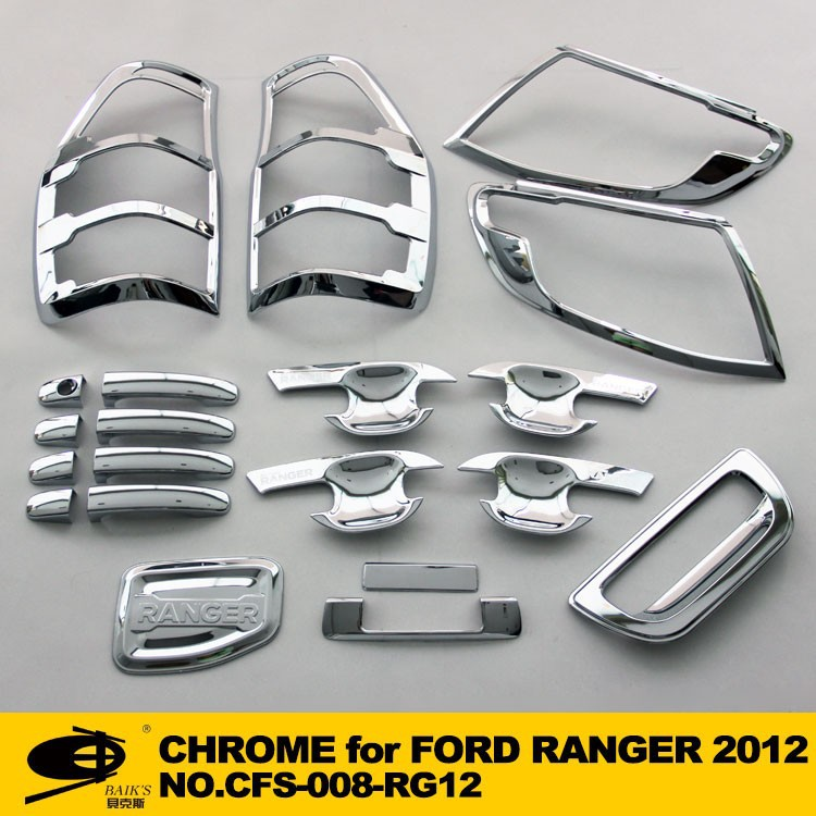 Complete Full Set of Exterior Chrome accessories with 3M Tape fitsFORD RANGER 2012 chrome car accessories