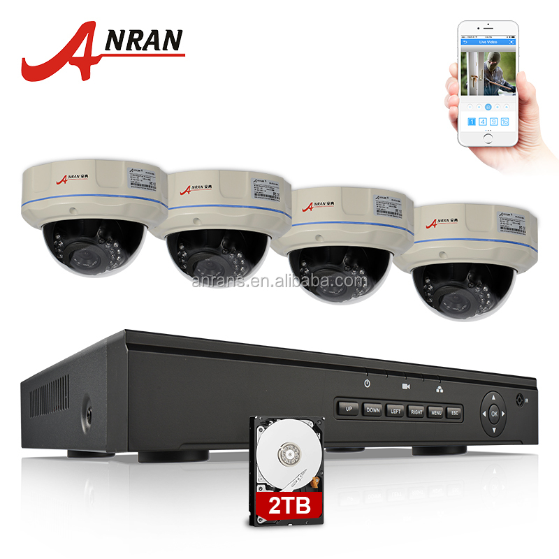 2.0mp PoE surveillance cameras Dome 4CH 1080P POE camera NVR system with 2TB Hard drive