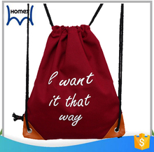 Hot shot custom school sports canvas drawstring backpack bag