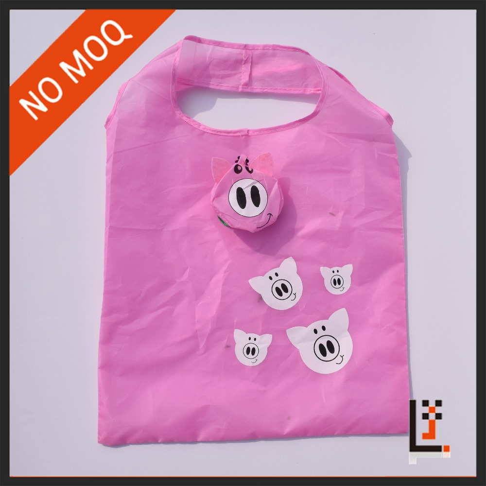 Fashion cartoon pig nylon/190T polyester / 210D polyester foldable shopping bag