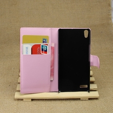 Top quality most popular leather wallet case for huawei p6