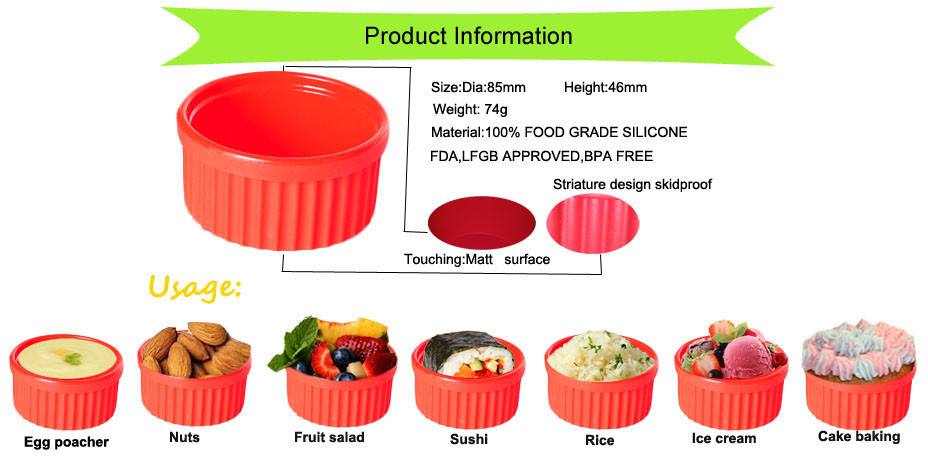 2016 new arrival durable silicone steaming bowl, gift Set of 3 silicone soup bowl