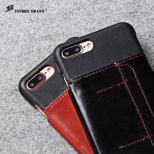 New real leather 5.5 inch red black phone case for iphone 7 plus