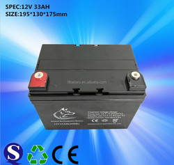 12v33ah sealed lead acid battery for solar system with 100% capacity