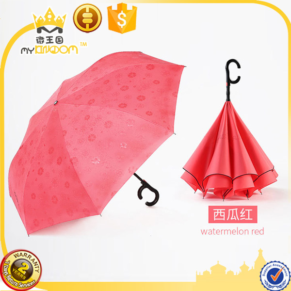 Show the Flower in Raining 190T Pongee Fabric Reverse Umbrella Anit- UV , Hands Free C Shaped Handle Umbrella