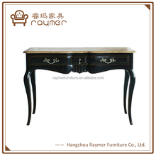 Industrial Solid Wood Living Room Furniture Black Antique Console Table