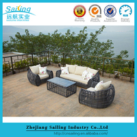 Hot Sale Oval Shape Rattan Sofa Bed With Pillows Sun Lounger Furniture