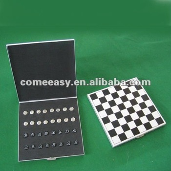 mini aluminum folding magnet chess set