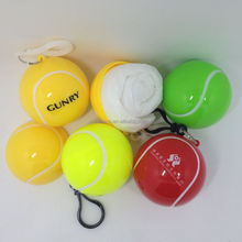 Plastic tennis ball shape disposable rain poncho with logo printing for promotional gift