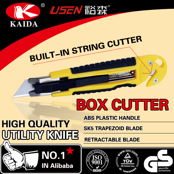 Plastic handle Auto Retractable Safety Utility Knife Box Cutter