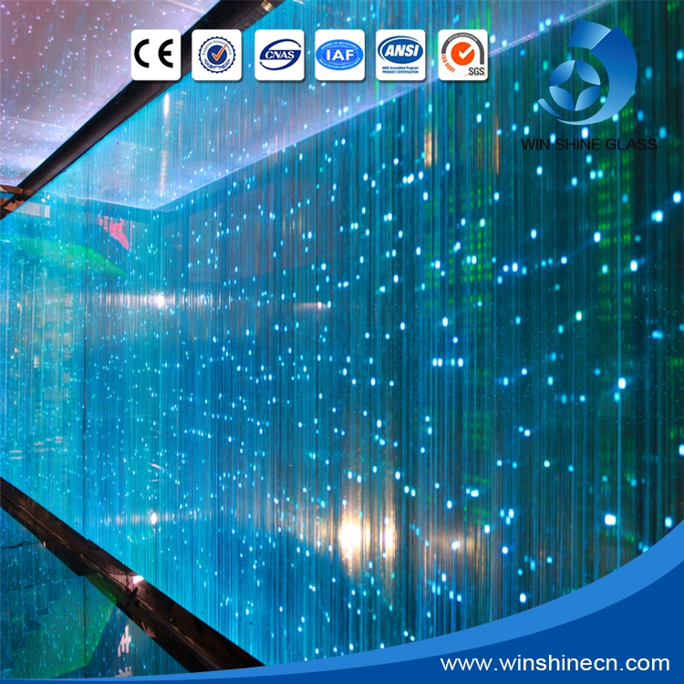 High quality energy-saving Led laminated glass/light glass for curtain wall with CE certificate