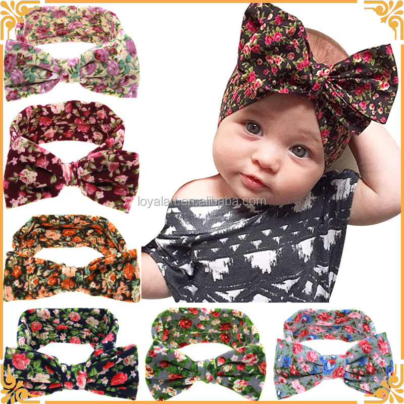 Factory Wholesales Novely Printed Bowknot Rabbit Ears Adjustable Elastic Baby Headband
