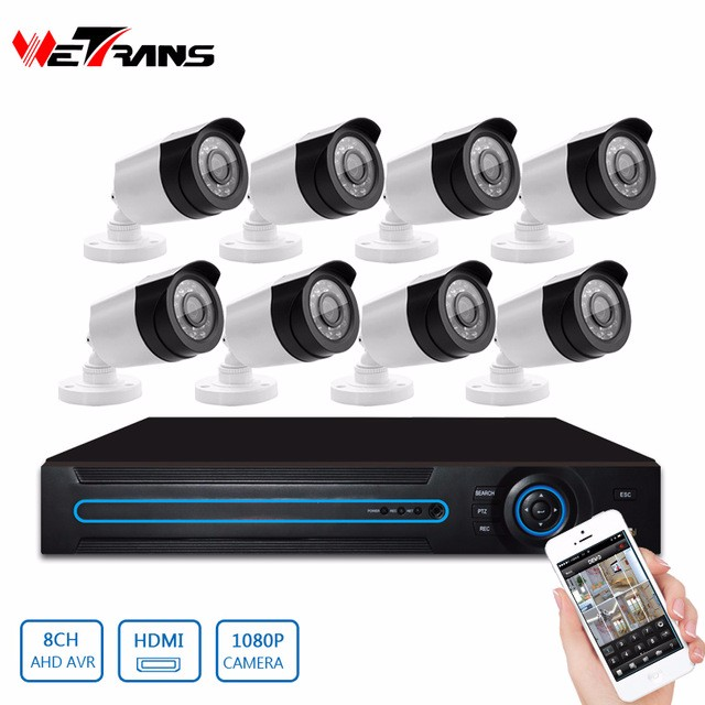 With cable and Power supply Whole CCTV system 8CH Outdoor 1080P Security Camera and DVR CCTV Kit