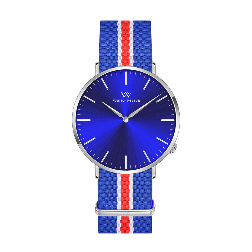 Adjustable Nylon Strap Stainless Steel Back Watches for Large Wrist Women