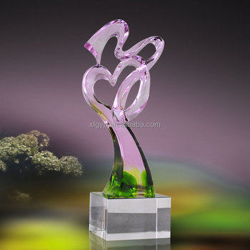 Love shaped colored glaze trophy awards