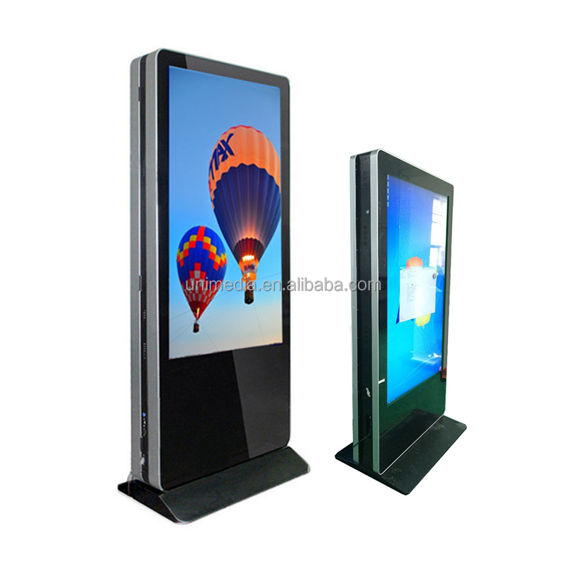 Smart floor stand wifi HD 55 inch advertising stand touch screen dual side kiosk double side digital signage