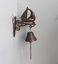 Home Decoration Antique Casting Iron Bronze Hanging Bell Sculpture