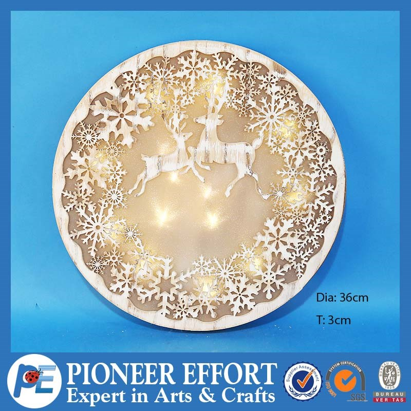 Hot sell high quality wooden Christmas resindeer and snow flack laser decoration with LED lighs best gift