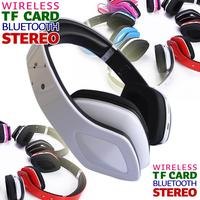 wireless bluetooth headset stereo bluetooth headphone with mic TF CARD FM Radio white