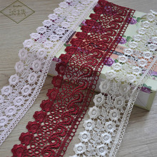 Floral Pattern Sewing Embroidered Lace Trim For Linens Decoration