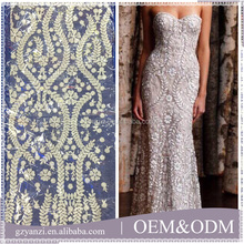 High quality hand 3d embroidery designs flower lace fabric for wedding dress eveninggown