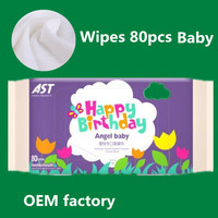 OEM Private lable wet wipes for baby 80pcs packed cotton wet tissue nonwoven napkin for baby