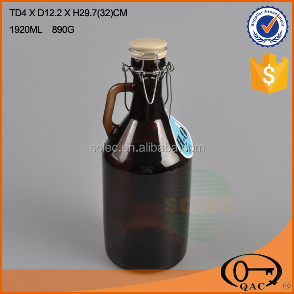 beer glass growler with swing ceramic lid brown with decal