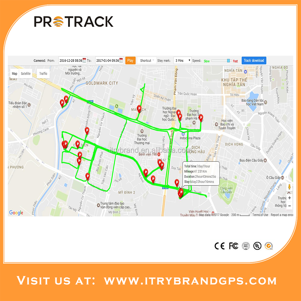 GPS vehicle tracking system with cut off engine/resume remotely vehicle tracker