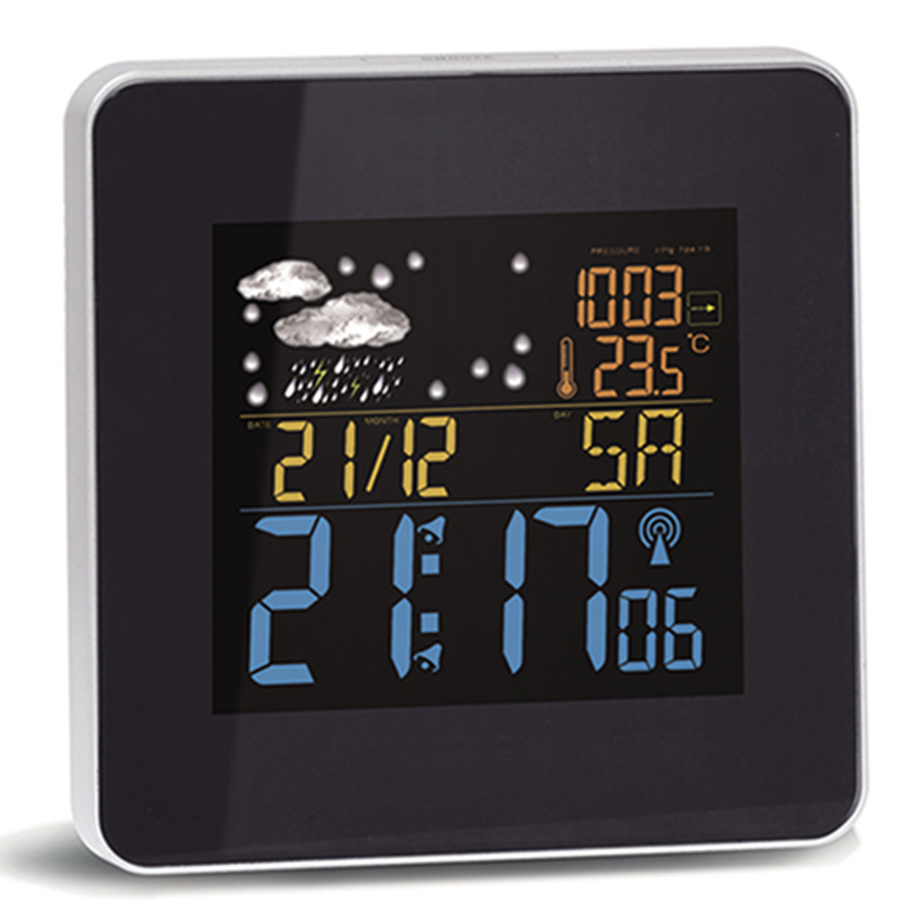 DCF-77 Radio controlled clock with weather station display clock in wall mounting or table standing