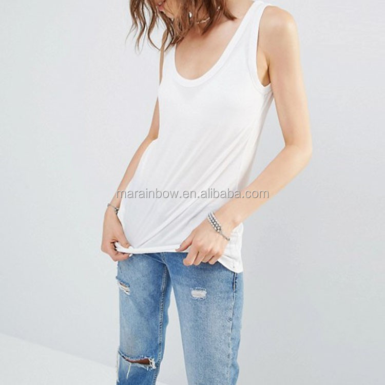 Manufacture Of China 100% Cotton Fashion Woman Sleeveless Long Line Tank tops custom for hot girls street wear