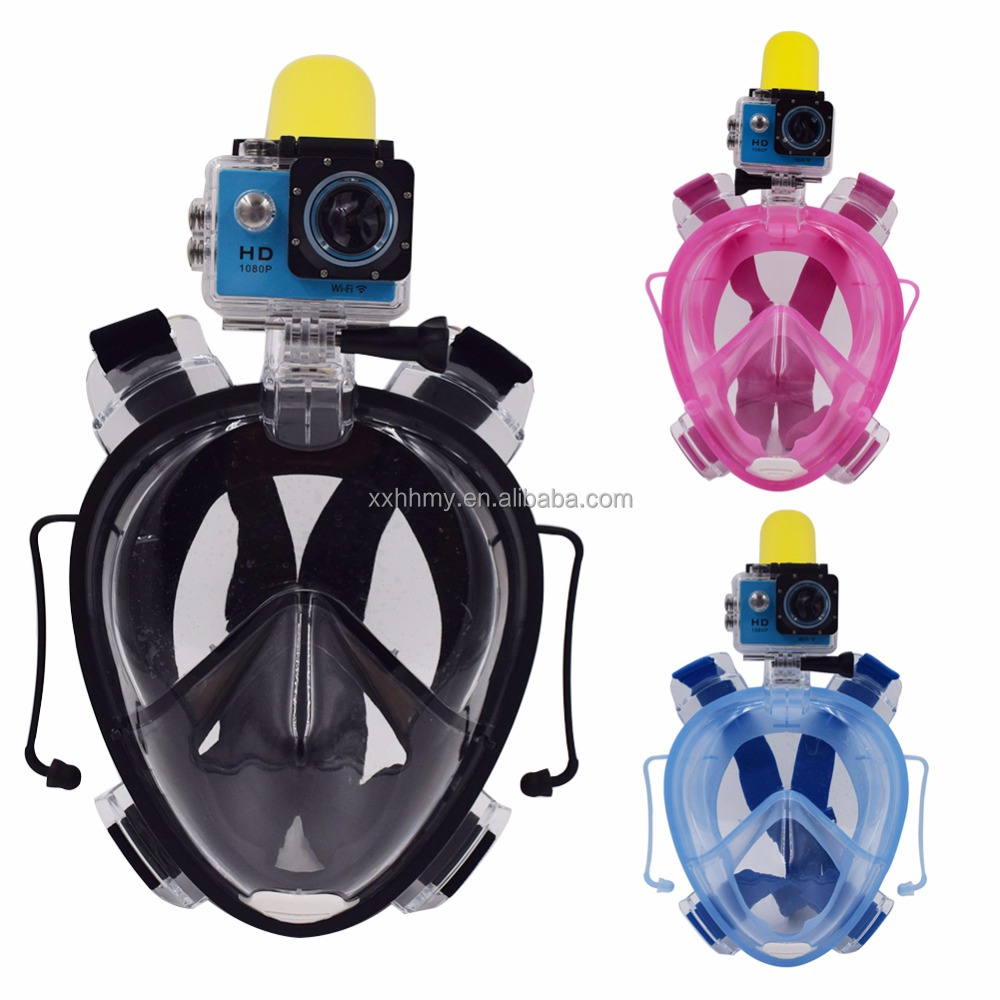 2017 Full Face Mask With Earplug Set Anti Fog Breakage-proof Detachable Dry Snorkeling for GoPro Camera Scuba Diving Swimming