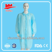 Cheap price Medical disposable PP Lab Coat with Button(snaps)/hook&loop/zipper
