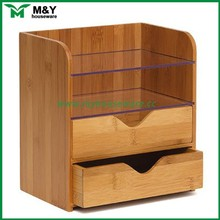bamboo desk organizer desktop office supplies set with drawer