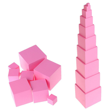 Educational Wooden Material Toys Sensorial Montessori Pink Tower For Kids