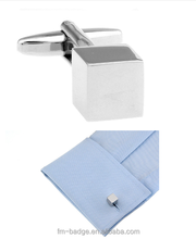 Top Grade Gift for Men Silver blank Cube Cufflink Solid Metal Cufflink,Plain Wholesale Brushed Blank Cube Cufflinks