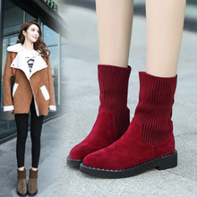 KS00436A Korea Styly Thin Plain Half Ankle Boots For Woman Knitted Fashion Boots 2018