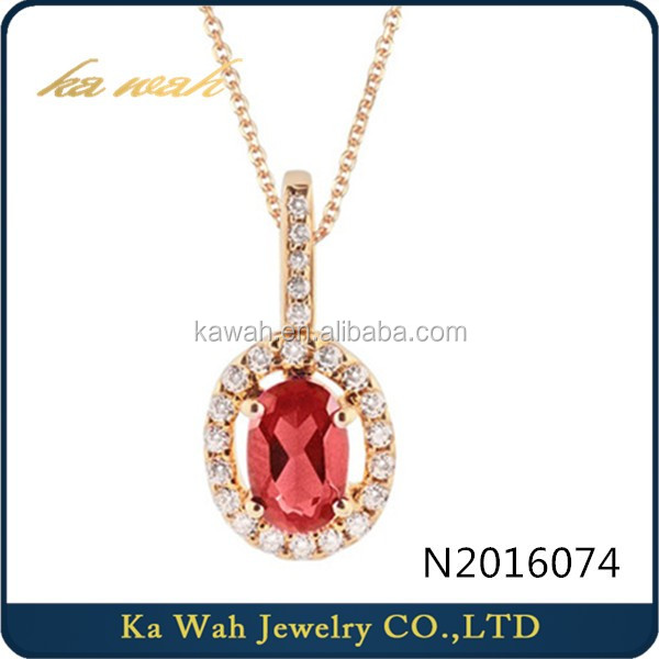 Dubai Jewelry Style Luxury 750 Gold Diamond Real Ruby Pendant Necklace