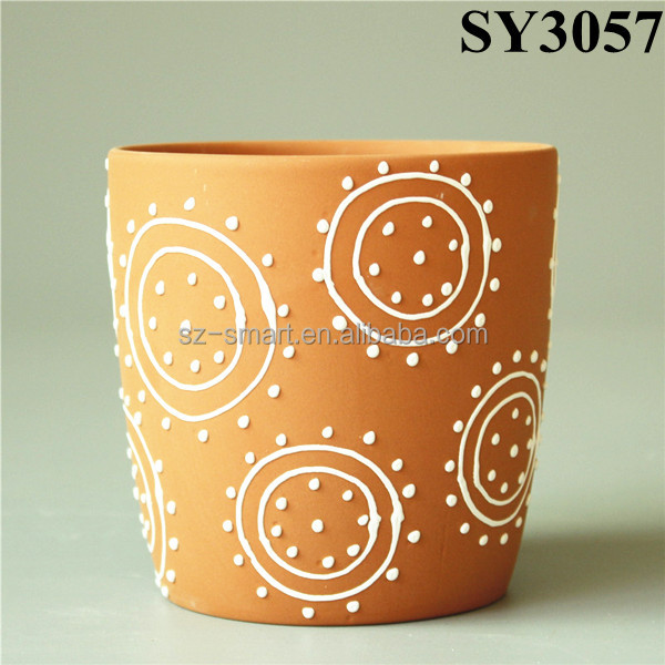 Sun pattern mini terracotta circular planter pot
