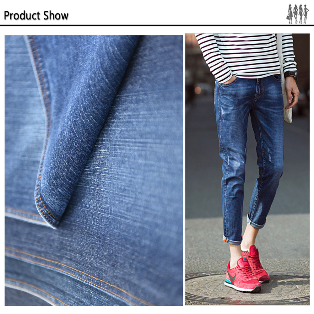 high quality wholesale custom branded 100% cotton heavy stretch jeans men denim fabric