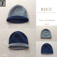 RJCC Fine Cashmere Reversible Ribbed Beanie Hat for Men