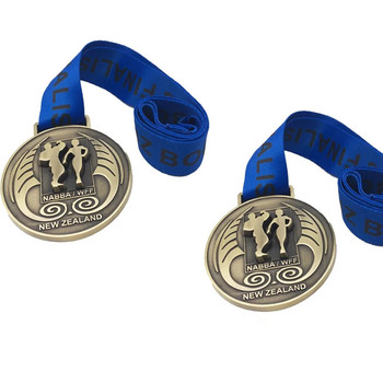 Custom trophies plated antique bronze marathon medal with blue ribbon