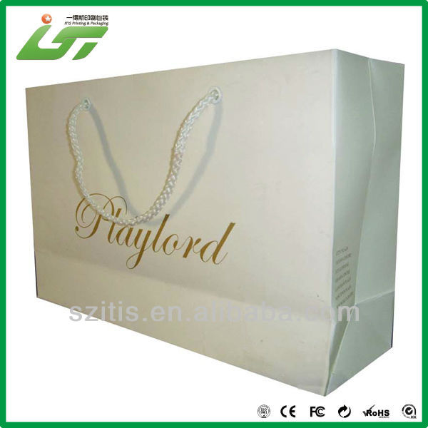 one side coated paper with hot stamping for recycled shopping carry bag,paper carry bag, carry bag with handle