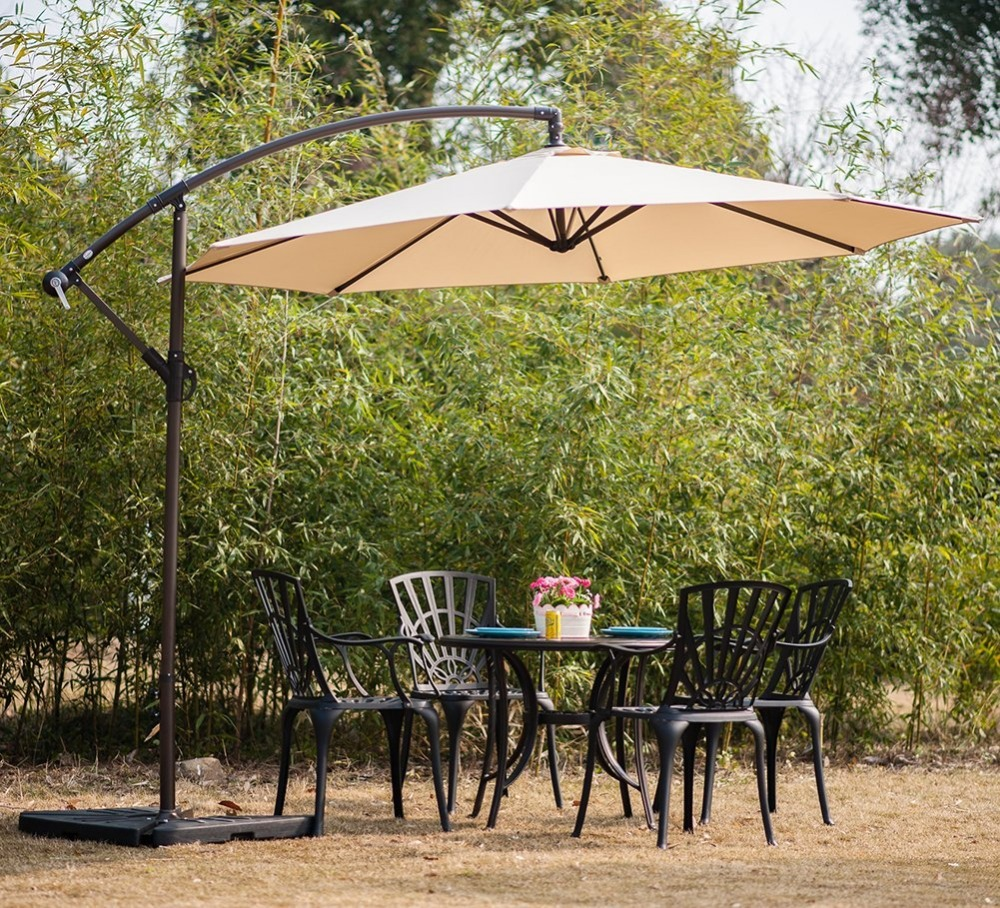 8 panels cantilever patio umbrella, outdoor parasol with table