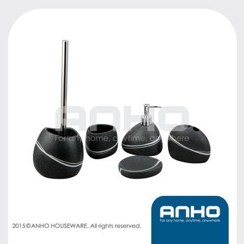 ANHO 5PCS resin black stone-shaped unique bathroom set(with a white wavy line decoration)