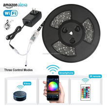 2017 New Wifi APP Control Smart Alexa Led Stripe Light no hub Requierd RGB Led Light Strip Work with Alexa and Google Home
