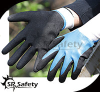 15G knitted nylon coated work gloves sandy finish/safety nitrile gloves/oil resistant working glove