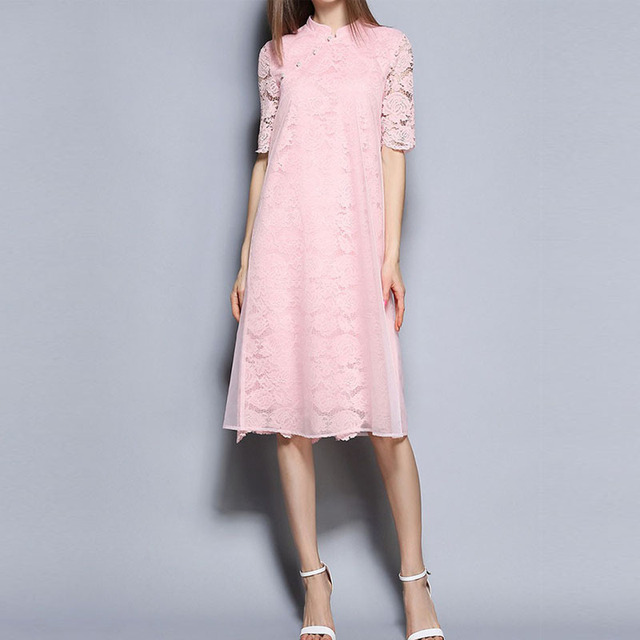 Ladies pink short sleeve maxi lace dress for women