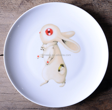 Almaaly eco-friendly ceramic porcelain pizza plate with fancy rabbit design